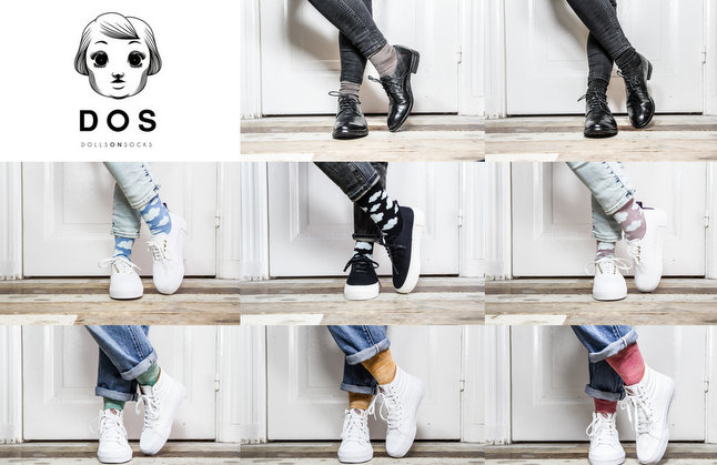 Dolls on socks fashion mode sokken footwear melkflessen